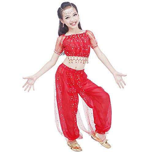 Maylong Girls Polka Dot Harem Pants Belly Dance Outfit Halloween Costume DW50 (Large, red)