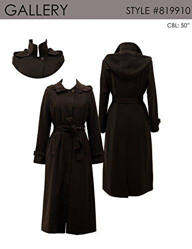Gallery Women's Dressy Full Length Belted Fly Front Hooded Raincoat, Black Medium
