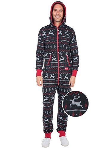 Tipsy Elves Black and Red Fair Isle Reindeer Jumpsuit - Ugly Christmas Sweater Party Adult Onesie: Large