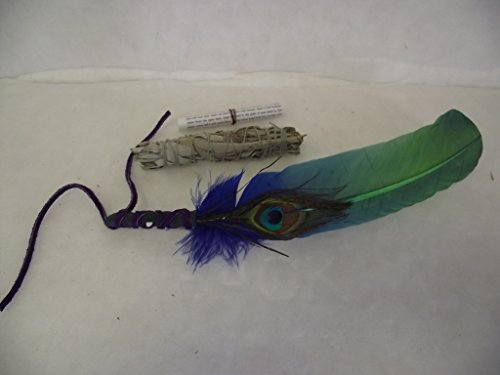 Sage Smudge Smudging Feather Plus California White Sage and Directions (Smudge Fan)