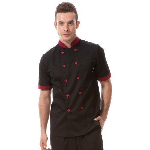 Chef Coat Jacket Uniform (Chef coat black with red uniforms short sleeve chef jacket unisex Black US Size:L (Tag:XXXL))