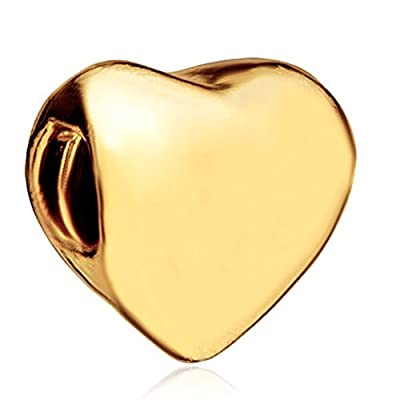 22K Golden Heart European Gifts For Mother Charm Fits Pandora Bead Bracelet