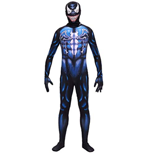 Halloween Costume Superhero Cosplay Fancy Dress Halloween Party for Kids Boys- Venom (M) Blue ()
