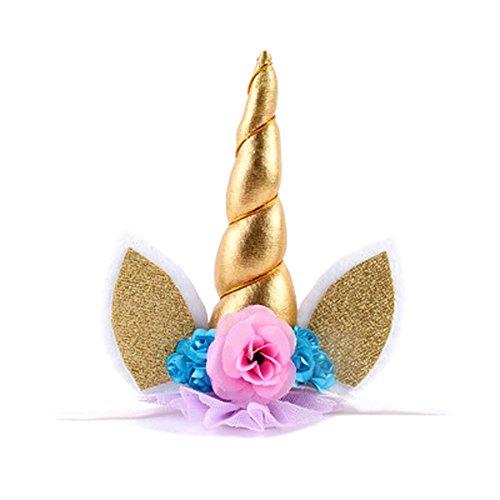 721f48d9dc2a Loheag Clinor Serre-tête Licorne Floral Bandeau aux Oreilles Corne  Accessoire Déguisement Anniversaire pour Enfants