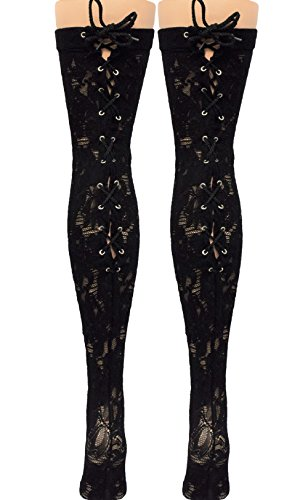 Vanea-Womens-Victorian-Inspired-Floral-Lace-Up-Back-Seam-Thigh-High-Black
