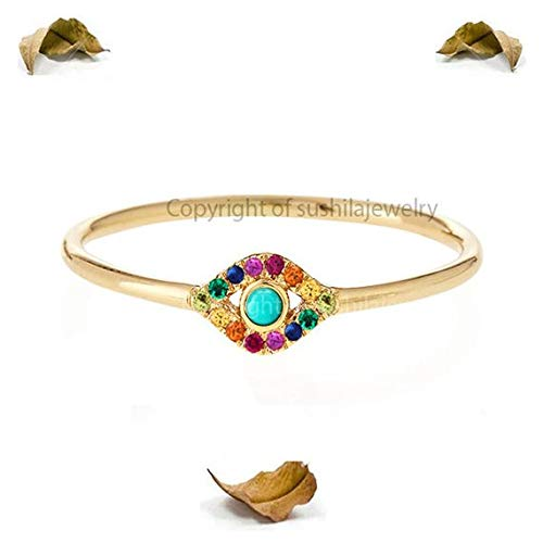 Genuine Rainbow Multi Sapphire & Turquoise Gemstone Evil Eye Stackable Rings in Handmade in 14k Solid Yellow Gold Minimalist Jewelry Gift
