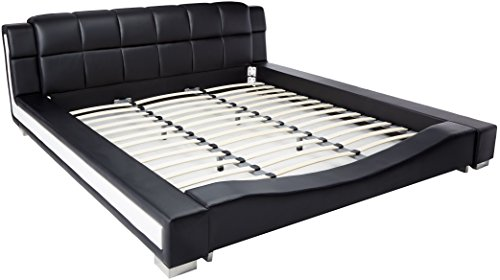 Container Furniture Direct Liam Collection Contemporary 2 Tone Faux Leather Upholstered Platform Bed with Padded Headboard, Eastern King, Black/White