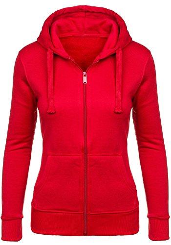 BOLF Mujer Sudadera Con Gran Capucha y Con Cremallera Material Sólido Manga Larga STEGOL AK50 Rojo