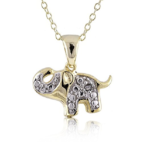 Pendant Elephant Accent Diamond (Sterling Silver Rhodium and Gold Plated Diamond Accent Elephant Pendant Necklace, 18