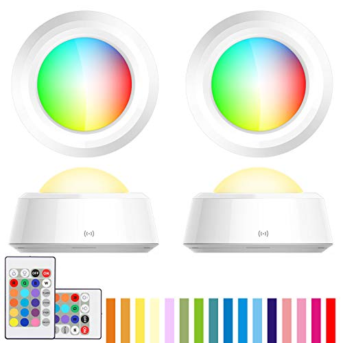 BIGLIGHT Push Lights, RGB Touch Lights, Battery Operated Closet Light, Wireless Tap Light, LED Puck Lights, 16 Color Changing, Remote Controlled Lights, Stick on Lights for Classroom Cabinet- 4 Pack