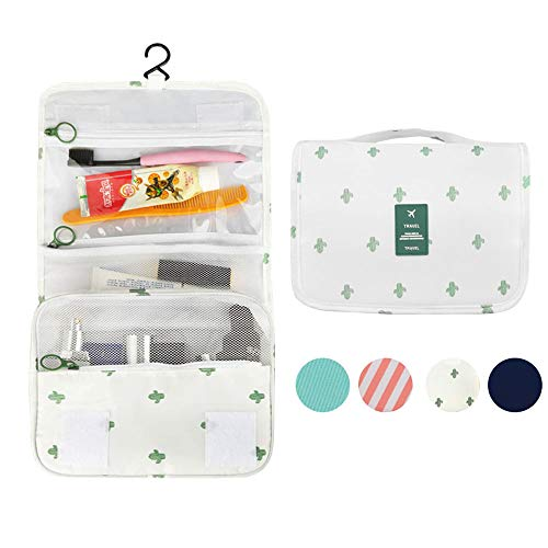 Anrui Hanging Travel Toiletry Bag, Large Waterproof Cosmetic Organizer Makeup Pouch for Women Men with Sturdy Hook (white)