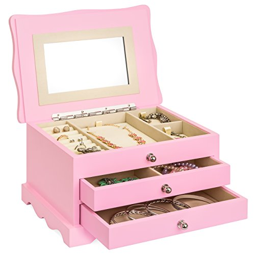 Fashion Jewelry Box Boxes - Best Choice Products Girls Wooden Princess Fashion Keepsake Jewelry Box Case Storage Organizer w/Large Mirror, Velvet Lining, 2 Drawers, 3 Removable Necklace Display Cards – Pink