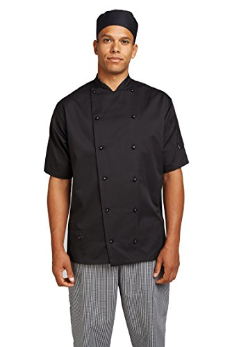 Le Chef Short Sleeve Executive Jacket - Sizes XS-4XL - Black - XL by Le Chef