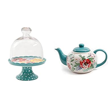 The Pioneer Woman Flea Market Mini Floral Cupcake Stand with Lid Bundle with Country Garden Teapot