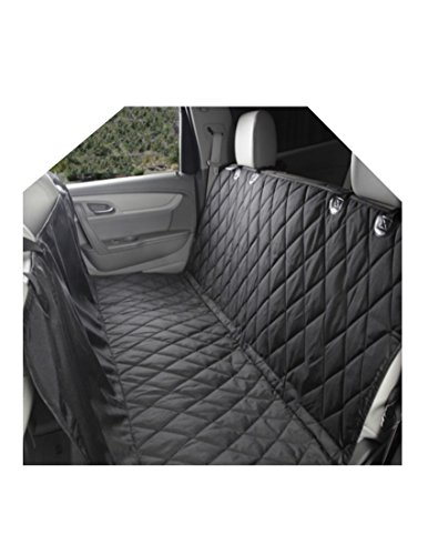 JetsetPet Car Seat Cover - 600D Oxford Quilt - Waterproof - Versatile Hammock - Backseat of SUV Truck and Car - Adjustable Snap Buckles - Machine Wash - Black - Dog & Child Carseat Friendly