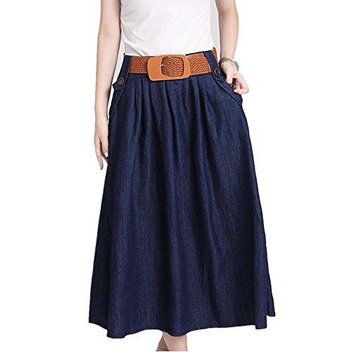 New Krralinlin Pleated Dark Blue Long Denim A Line Skirt free shipping