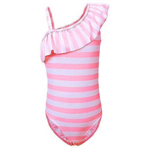 BAOHULU Girls One Piece Swimsuit Ruffle Swimwear Floral Bathing Suit (Pink/Stripes, 4-5 ()