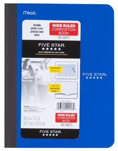 Five Star Composition Book, Wide Ruled, 100 Sheets, 9.75 x 7.5 Inch Sheet Size, Assorted - Color May Vary (09006) Photo #6
