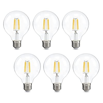 Dimmable Edison Led Globe Light Bulb G25, Warm White 2700K, Bathroom Vanity Light Bulb 4W (40W Equivalent), E26 Base, ETL Listed, Pack of 6
