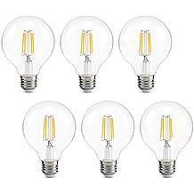 Dimmable Edison Led Globe Light Bulb G25, Bathroom Vanity Light Bulb 4W (40W Equivalent), 2700k Warm White, E26 Base, ETL Listed, Pack of 6