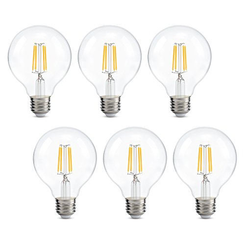 (Dimmable Edison Led Globe Light Bulb G25, Warm White 2700K, Bathroom Vanity Light Bulb 4W (40W Equivalent), E26 Base, ETL Listed, Pack of 6)