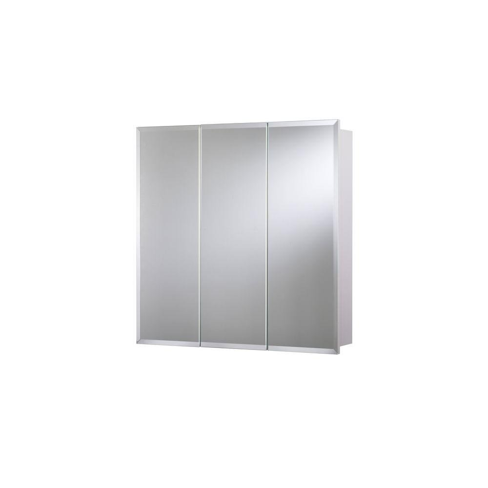 24 in. x 24 in. Surface-Mount Tri-View Beveled Mirrored Medicine Cabinet in White with Hang 'N' Lock Easy Hanging System by Croydex