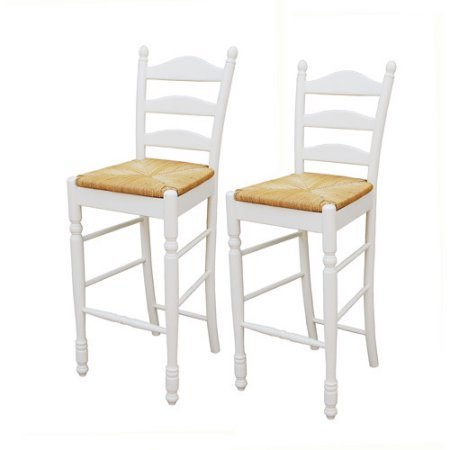 Ladder Back Rush Seat - Ladder Back Rush Seat Bar Stools 30 Inches, Set of Two, The Ladderback Design and Woven Rush Seat Look Great in Many Different Styles of Decor, From Country to Traditional, White + Expert Guide