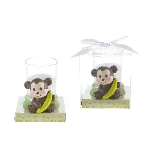 (Lunaura Party Keepsake - Set of 12 Baby Monkey Candle Set Favors - White)