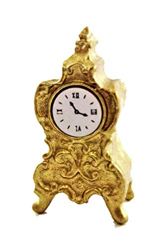 (Dollhouse Miniature Antique Mantel Clock)
