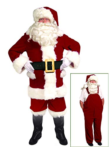 (Mens XL Velvet Santa Suit with Overalls)