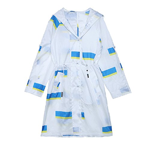QFFL fangshaifu 夏のロングセクションホワイトサンプロテクション衣類/女性ビーチルーズ外側カーディガン/通気性の印刷日焼け止めショール (サイズ さいず : M)
