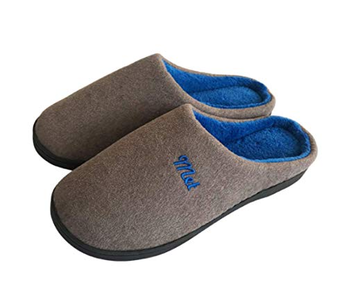 Mens Womens Cotton Slipper Indoor House Comfort Slip On Memory Foam French Terry Outdoor Anti-Skid Rubber Sole Shoes