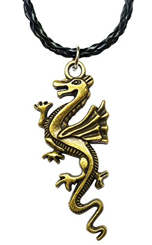 BDJ Antique Bronze Gothic Flying Dragon Monster Pendant Leatherette Necklace 16