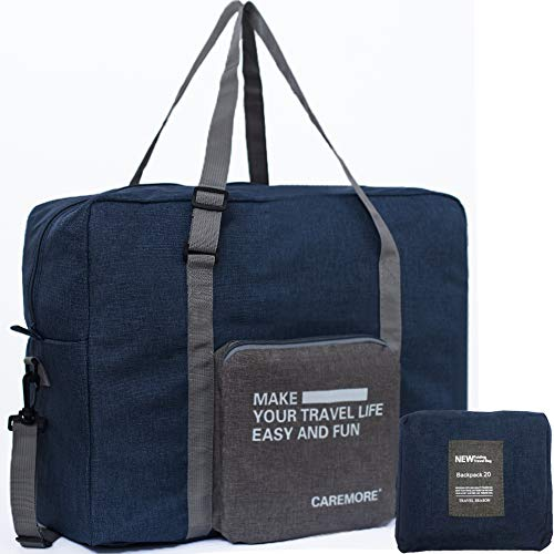 Spirit Airline Personal Item Carry-on Bag Unisex's Lightweight Fodable Waterproof Duffel Travel Luggage Bag 18 X 14 X 8 inches(Blue with strap)