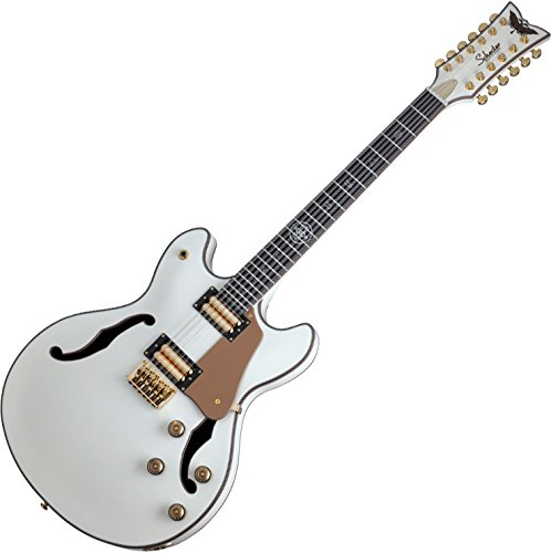 (Schecter Wanye Hussey Corsair-12 Semi-Hollow Electric Guitar Ivory)