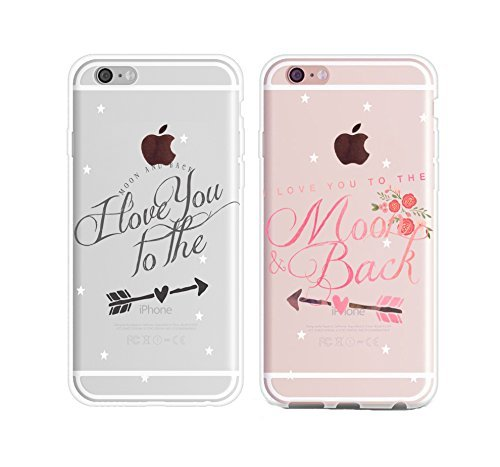 Couple Case for Him Her,Cute Couples Things for Girlfriend Boyfriend,I Love You to the Moon and Back Couple Matching Case for Hubby Wiffy Wife Husband Love Quotes Case for iPhone 6s/iPhone 6-Pink
