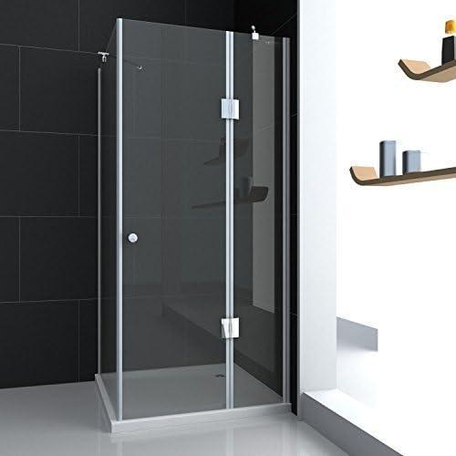 Cabina de ducha de vidrio Mampara de ducha + antideslizante Ducha Bañera + desagüe 80 x 80 x 190 cm, con efecto lotus: Amazon.es: Bricolaje y herramientas