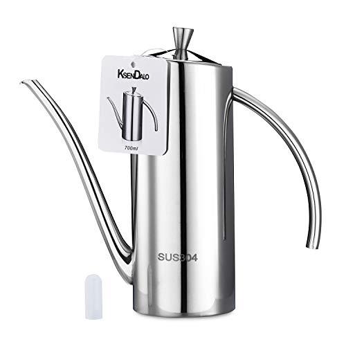 (Oil Dispenser, KSENDALO 0.74Quart/24Oz Olive Oil Can Drizzler Cruet Bottle Dispenser with Drip-Free Spout,304 Stainless Steel 700ML Olive Oil Dispenser,Silver)