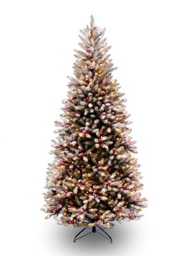 National Tree 7.5 Foot Slim Dunhill Fir Tree with Cones, Red Berries, Snow and 600 Clear Lights, Hinged (DUF7-301-75) ()