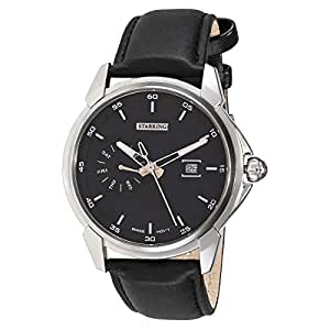 Starking Men's Black Dial Leather Band Watch - BM0847SL22