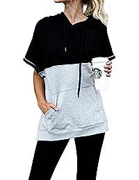 Womens Hoodie Short Sleeve Loose Drawstring Pullover Hooded Batwing Pockets