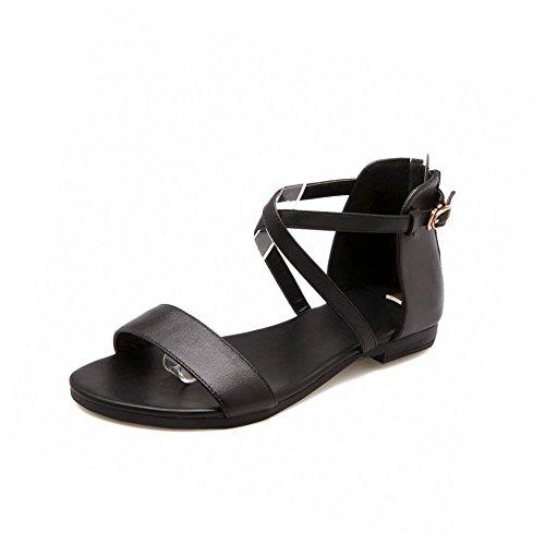 AmoonyFashion Womens Cow Leather Assorted Color Zipper Open Toe Low Heels Sandals Black FW3oJ