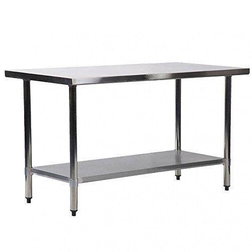 Kitchen Work Table Stainless Steel 30x60 inch Work Table Heavy Duty Commercial Home Kitchen Prep Restaurant Adjustable Bullet Feet Table (Bullet Steel Foot)