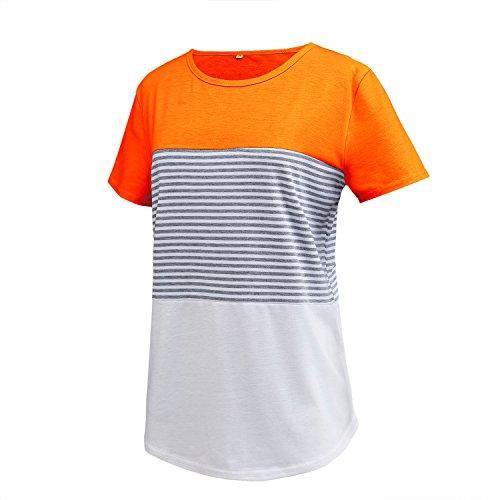 Neemanndy Women's Bright Orange Fashion Shirts with Color Block Stripe Design, Medium