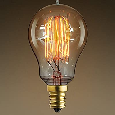 25W Antique Light Bulb A15 Victorian Style Candelabra Base Squirrel Cage Filament Clear
