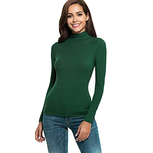 SSYUNO Womens Solid Slim Fit Modal Lightweight Long Sleeve Turtleneck Tee Shirt Top