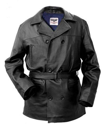 Modèle Homme Noir 18 Veste Dit Pleine En Longue 14 Fleure Caban D'aviateur Bovin Allemande Véritable House Noble Cuir Fw50pp