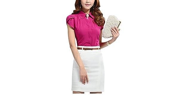 Lady Elegant Point Collar Button Closure Tulip Sleeves Shirt Fuchsia M at Amazon Womens Clothing store: