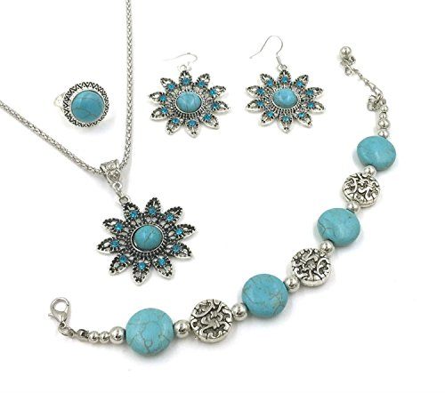 Simulated Turquoise Rhinestone Necklace Earrings