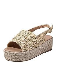 LIUguoo Ladies Beach Sandals - Women's Platform Peep Toe Woven Flat Thick Bottom Sandal Roman Shoes